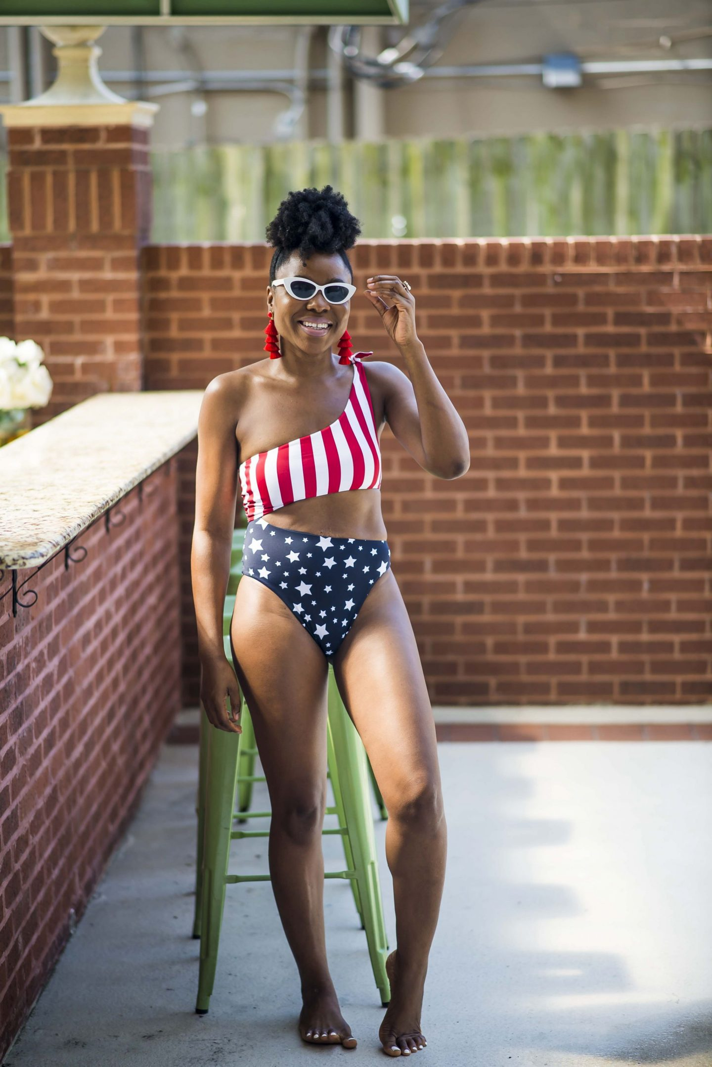 Pull&Bear swimsuit with american flag in multi