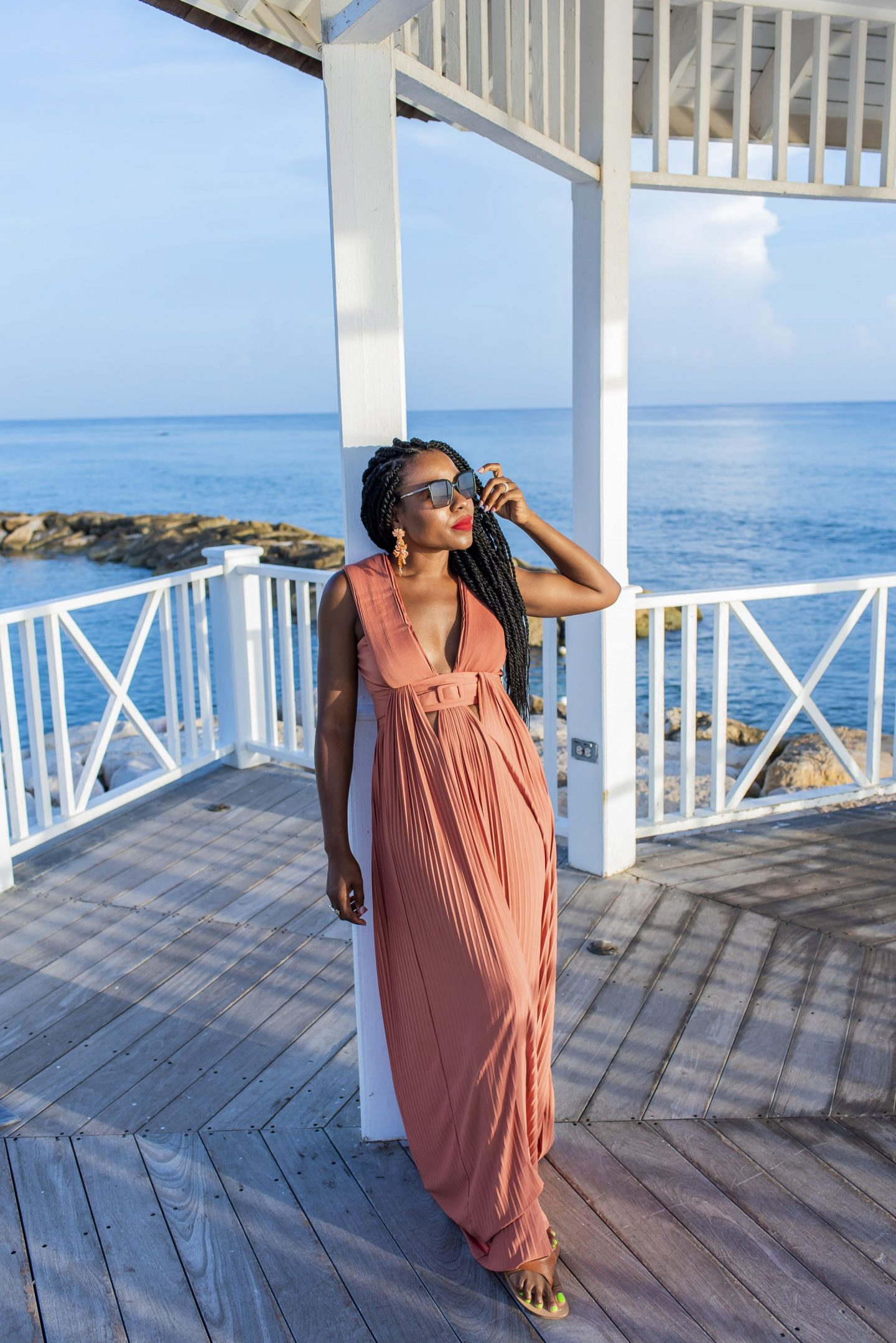 My new favorite color rust featured in a Maxi dress